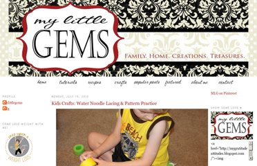 http://mygratitudeattitudes.blogspot.com/2010/07/kids-crafts-water-noodle-lacing-pattern.html