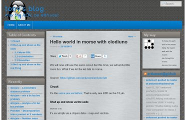 http://adumont.fr/blog/hello-world-in-morse-with-arduinoclodiuno/