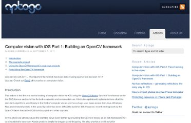 http://aptogo.co.uk/2011/09/opencv-framework-for-ios/