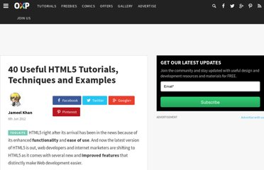 http://www.onextrapixel.com/2012/06/06/40-useful-html5-tutorials-techniques-and-examples/