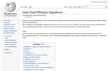 http://en.wikipedia.org/wiki/User:FreeT/Physics_Equations