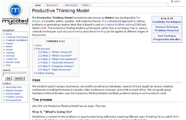 http://www.mycoted.com/Productive_Thinking_Model