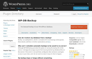 http://wordpress.org/extend/plugins/wp-db-backup/faq/