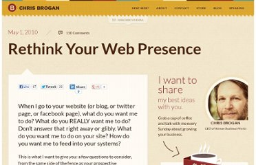 http://www.chrisbrogan.com/rethink-your-web-presence/