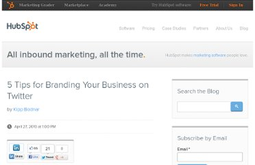 http://blog.hubspot.com/blog/tabid/6307/bid/5901/5-Tips-for-Branding-Your-Business-on-Twitter.aspx