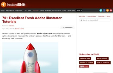 http://www.instantshift.com/2010/04/30/70-excellent-fresh-adobe-illustrator-tutorials/