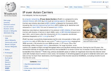 http://en.wikipedia.org/wiki/IP_over_Avian_Carriers
