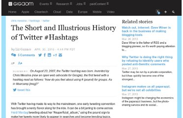 http://gigaom.com/2010/04/30/the-short-and-illustrious-history-of-twitter-hashtags/