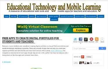 http://www.educatorstechnology.com/2012/06/free-apps-to-create-digital-portfolios.html