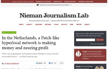http://www.niemanlab.org/2012/06/in-the-netherlands-a-patch-like-hyperlocal-network-is-making-money-and-nearing-profit/