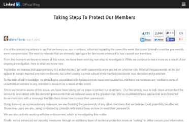 http://blog.linkedin.com/2012/06/07/taking-steps-to-protect-our-members/
