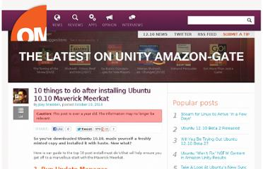 http://www.omgubuntu.co.uk/2010/10/10-things-to-do-after-installing-ubuntu-10-10-maverick-meerkat