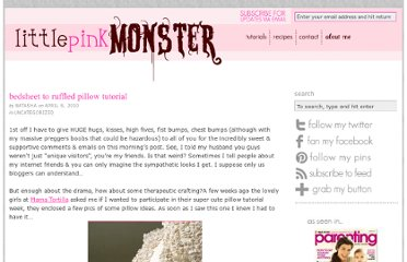 http://www.littlepinkmonster.com/2010/04/08/bedsheet-to-ruffled-pillow-tutorial/