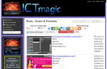 http://ictmagic.wikispaces.com/Music,+Sound+&+Podcasts