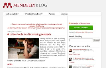 http://blog.mendeley.com/tipstricks/11-free-tools-for-discovering-research/