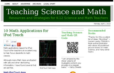 http://www.teachscienceandmath.com/2010/03/15/10-math-applications-for-ipod-touch/