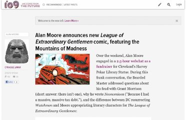 http://io9.com/5882663/alan-moore-announces-new-league-of-extraordinary-gentlemen-comic-featuring-the-mountains-of-madness