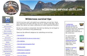 http://www.wilderness-survival-skills.com/wilderness-survival-tips.html