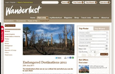 http://www.wanderlust.co.uk/planatrip/inspire-me/lists/endangered-destinations-2011?page=all