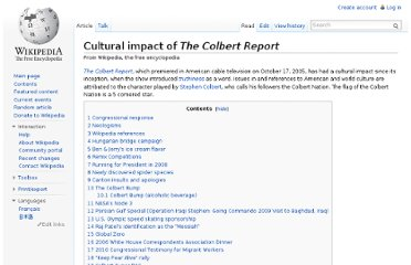http://en.wikipedia.org/wiki/Cultural_impact_of_The_Colbert_Report