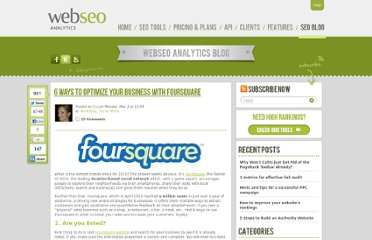 http://www.webseoanalytics.com/blog/6-ways-to-optimize-your-business-with-foursquare/