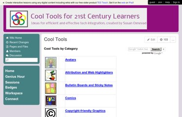 http://cooltoolsfor21stcenturylearners.wikispaces.com/Cool+Tools