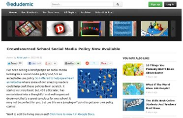 http://edudemic.com/2012/06/school-social-media-policy/