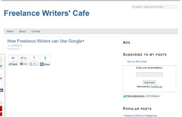 http://www.freelancewriterscafe.com/how-freelance-writers-can-use-google-plus/
