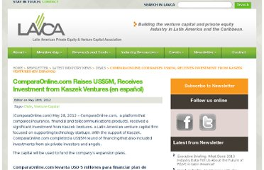 http://lavca.org/2012/05/28/comparaonline-com-raises-us5m-receives-investment-from-kaszek-ventures-en-espanol/