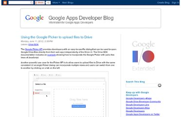 http://googleappsdeveloper.blogspot.com/2012/06/using-google-picker-to-upload-files-to.html