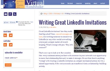 http://www.thevirtualhandshake.com/2010/02/16/writing-great-linkedin-invitations/