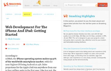 http://mobile.smashingmagazine.com/2010/05/28/web-development-for-the-iphone-and-ipad-getting-started/