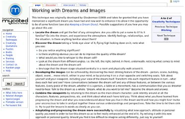 http://www.mycoted.com/Working_with_Dreams_and_Images