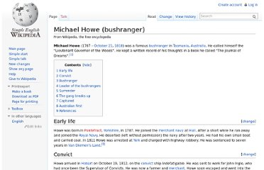 http://simple.wikipedia.org/wiki/Michael_Howe_(bushranger)