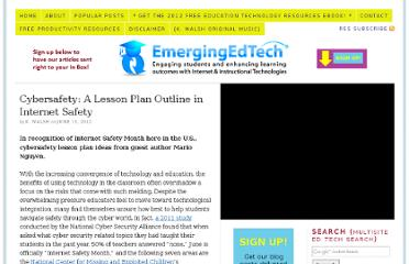http://www.emergingedtech.com/2012/06/cybersafety-a-lesson-plan-outline-in-internet-safety/