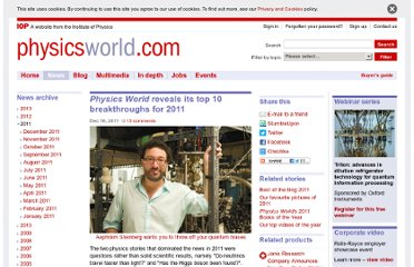 http://physicsworld.com/cws/article/news/2011/dec/16/physics-world-reveals-its-top-10-breakthroughs-for-2011