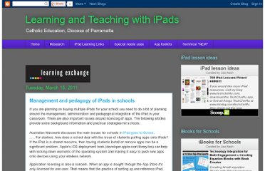 http://learningwithipads.blogspot.com/2011/03/management-and-pedagogy-of-ipads-in.html