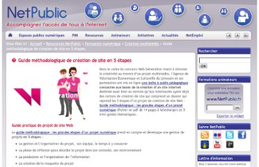 http://www.netpublic.fr/2012/06/guide-methodologique-de-creation-de-site-en-5-etapes/
