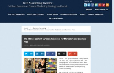http://www.b2bmarketinginsider.com/content-marketing/the-30-best-content-curation-resources-for-marketers-and-business-pros