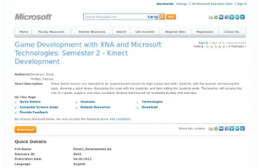 http://www.facultyresourcecenter.com/curriculum/8965-Kinect-Development.aspx?c1=en-us&c2=0