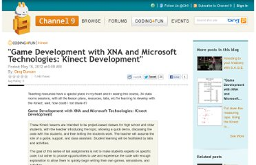 http://channel9.msdn.com/coding4fun/kinect/Game-Development-with-XNA-and-Microsoft-Technologies-Kinect-Development