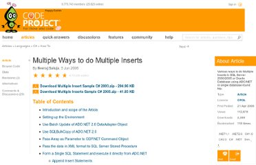 http://www.codeproject.com/Articles/25457/Multiple-Ways-to-do-Multiple-Inserts#_Toc196622246