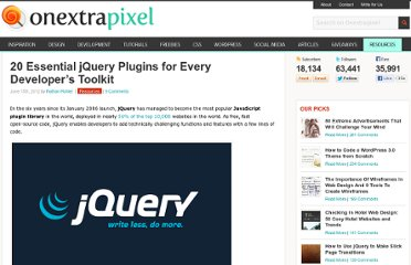http://www.onextrapixel.com/2012/06/15/20-essential-jquery-plugins-for-every-developers-toolkit/