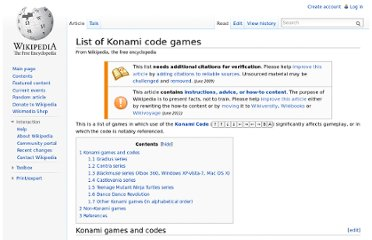 http://en.wikipedia.org/wiki/List_of_Konami_code_games
