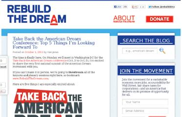 http://www.rebuildthedream.com/blog/2011/10/01/take-back-the-american-dream-conference-top-5-things-im-looking-forward-to/