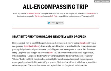 http://tumblr.gesteves.com/post/84438959/start-bittorrent-downloads-remotely-with-dropbox