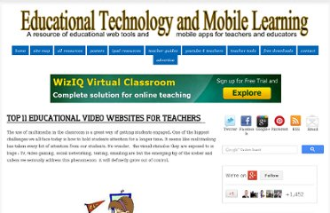 http://www.educatorstechnology.com/2012/06/top-11-educational-video-websites-for.html