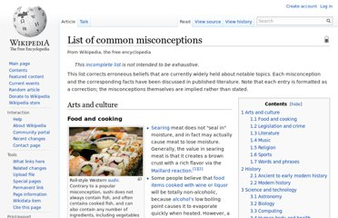 http://en.wikipedia.org/wiki/List_of_common_misconceptions