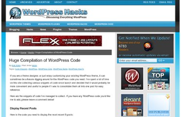 http://wphacks.com/huge-compilation-of-wordpress-code/
