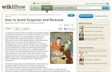 http://www.wikihow.com/Avoid-Suspicion-and-Paranoia